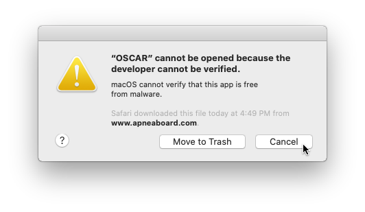 macOS cannot verify that this app is free from malware
