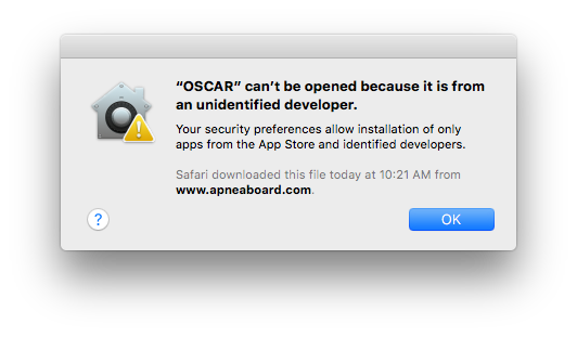 """OSCAR"" can't be opened because it is from an unidentified developer."